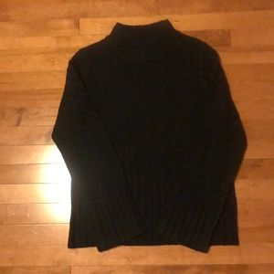 Black mock neck textured knit sweater
